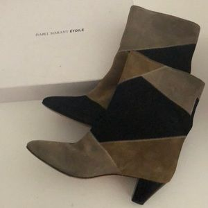 Isabel Marant Patchwork Suede Dyna Booties